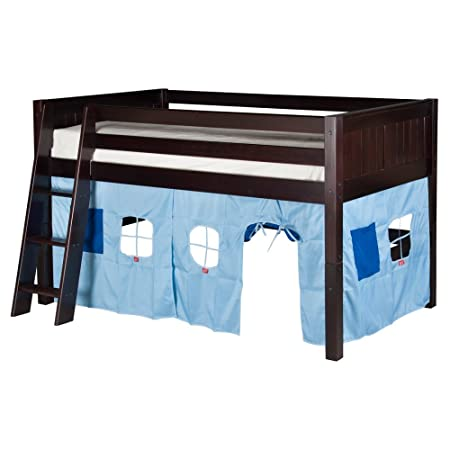 Camaflexi Panel Style Solid Wood Low Loft Bed with Fabric Playhouse, Twin, Side Angled Ladder, White