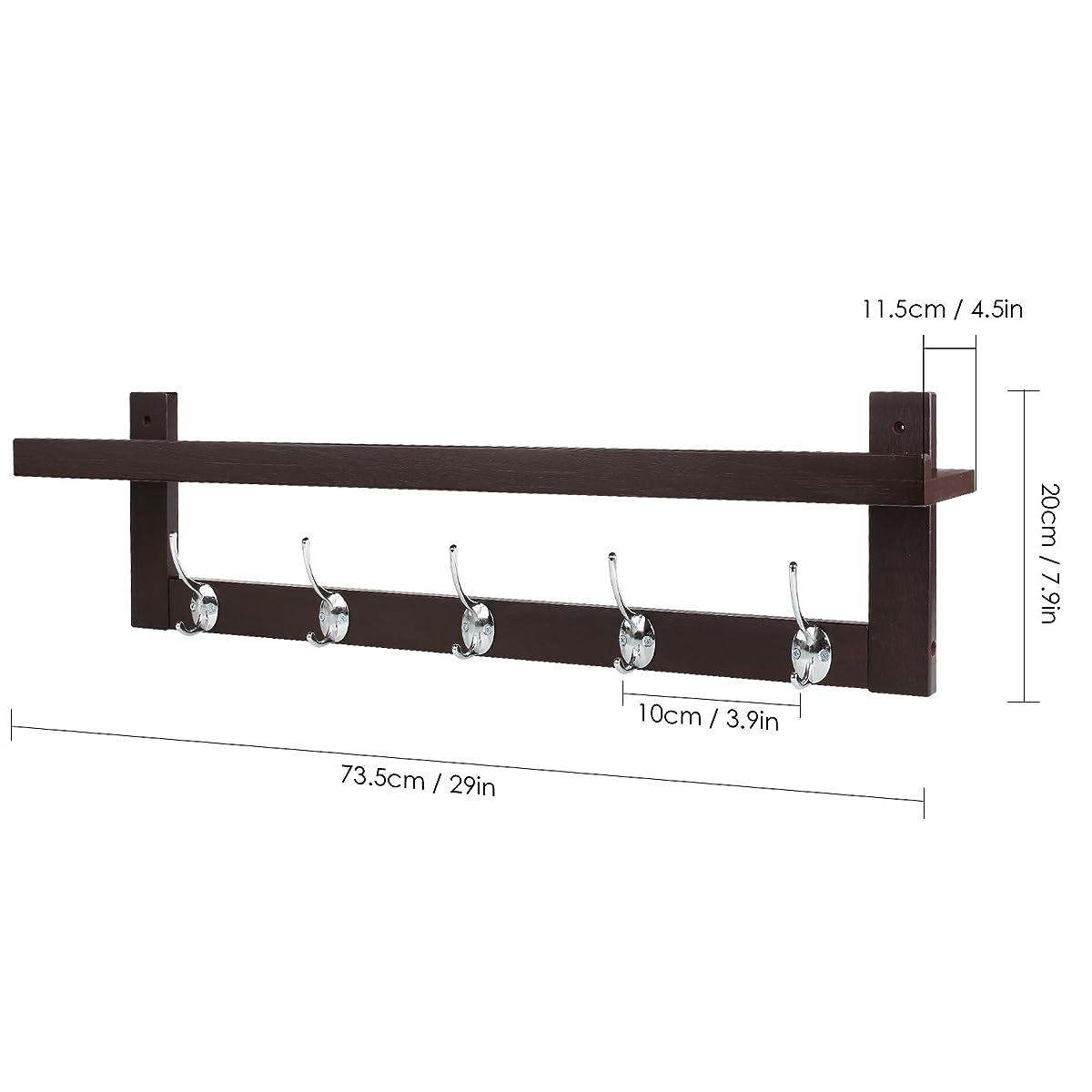 HOMFA Bamboo Coat Hook Shelf Wall Mounted Hanging Shelf Entryway Wall Shelf  With 5 Dual Wall ...