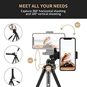 Fotopro Phone Tripod, 39.5 Inch Tripod for iPhone, Travel Tripod with Bluetooth Remote/Smartphone Mount, Lightweight Tripod for Samsung, Huawei (Color: 4K-MS)