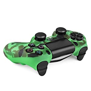 TNP PS4 / Slim / Pro Controller Skin Grip Cover Case Set - Protective Soft Silicone Gel Rubber Shell & Anti-slip Thumb Stick Caps for Sony PlayStation 4 Controller Gaming Gamepad (Camo Dark Green) (Color: Camo Dark Green)