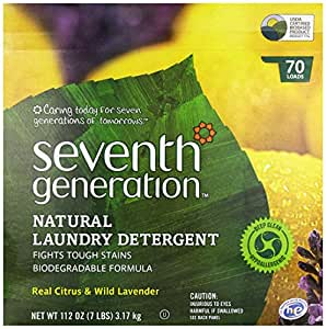Seventh Generation Powder Laundry Concentrated, Real Citrus and Wild Lavender, 112-Ounce (Packaging May Vary)