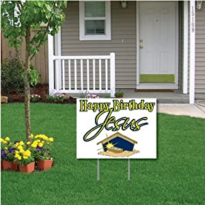"""Happy Birthday Jesus"" (white) Christmas Lawn Display - Yard Sign Decoration"