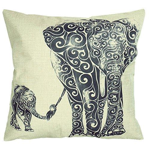 Luxbon 4er Set Elefant Mutter und Kind Leinen Kissenbezug Kissenhülle Sofakissen Pillowcase Haus Auto Deko 18 x 18 '' Schwarz -