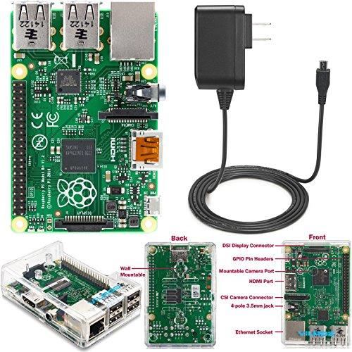 Raspberry Pi 2 Model B (1GB) Basic Starter Kit Includes Raspberry Pi 2 Model B-- Compact Clear Case--Power Supply