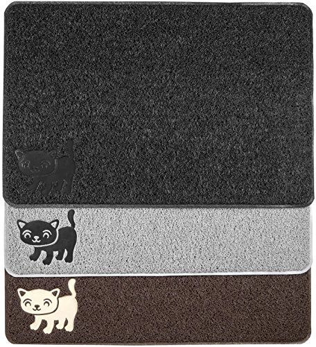 BPA Free Premium Cat Litter Mat – Extra Large – Best Quality Kitty Litter Catcher with 9-TM Scatter Control – Urine Proof – Soft Rug for Cats Paws – Black Color