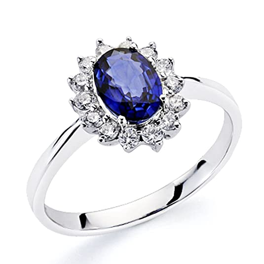 18k white gold ring 14 0,3ct bright sapphire 0,84ct [7409]