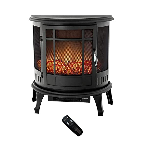 Flame Shade Electric Wood Stove Fireplace Heater Freestanding