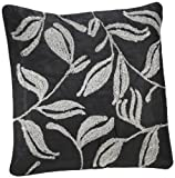 Shahenaz Home Shop Amodini Leaf Embroidery Poly Dupion Cushion Cover - Black and Grey