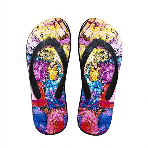 For U Designs Fashion Colorful Pigment Print Women's Girl's Personalized Flip Flops US 9