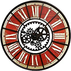 Large Wall Clock with Decorative Gear Look Red 32