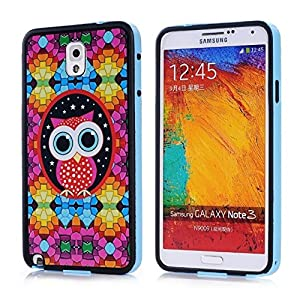 YW (TM) TPU Frame Work Bumper Protective Hybrid Impact Armor Slim Defender Hard Case Cover For Samsung Galaxy Note 3 N9000 with One Piece Random Color Stlye Dress up Sticker Gift -TPU blue / Owl on Colorful Wall