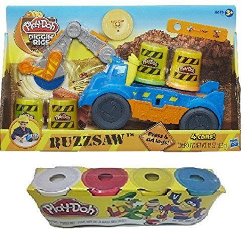Play-Doh Diggin Rigs Buzzsaw Set w/ Assorted Colors 4pk Mega Truck And Cutting Tools Creative Toys Clay (4pk colors may vary from picture) (Play Doh Color Mixer compare prices)