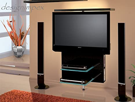 TV Wand H-999 Schwarz Hochglanz drehbar TV Rack LCD inkl. TV-Halterung LED Beleuchtung