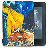 Kandouren Amazon Kindle Paperwhite Case - Coffee shop Unique Art Skin,Lighted Slim Leather Cover with Autowake(Fit 6 inch 6th generation new Kindle Paperwhite 2013 2014 2015),blue color book