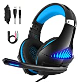 DeepDream Stereo Gaming Headset GM-5 with Noise Cancelling Mic, Led Lights, Volume Control – Compatible with Nintendo Switch, Xbox One, PlayStation 4 and PC (Color: Blue)