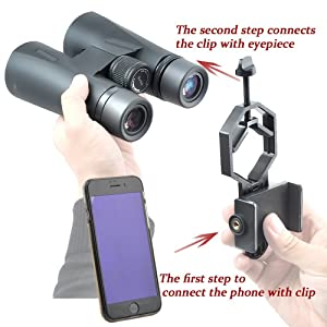 SUPRBIRD Universal Cell Phone Adapter Mount Smartphone Adapter for Binoculars, Spotting Scopes, Telescopes, Microscopes, Monoculars with eyepiece diameter 28mm-47mm and iPhone Samsung Note (Color: black)