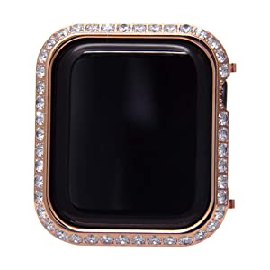 UKCOCO Compatible Apple Watch 4 Case, Luxury Crystal Diamonds Metal Frame iWatch Bezel Edge Protector Protective Bumper Compatible iWatch Series 4 Sport Edition (40mm-Rose Gold) (Color: 40mm-Rose Gold)