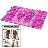足型 簡単 踏むだけ 足ツボ 健康 マット ジョイント 式 反射区 マップ セット (ピンク 1枚)