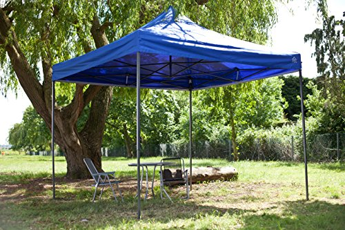 AllSeasonsGazebos 3x3m Royal Blue, Heavy Duty, Fully Waterproof, PVC Coated, Premium Pop Up Gazebo + Carry Bag With Wheels & 4 x Superior Sand Bag Leg Weights
