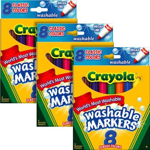 Crayola Washable Markers, Broad Tip, Bold Assorted Colors, 24/Pack (11584)
