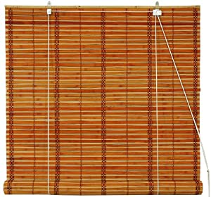 Oriental Furniture Burnt Bamboo Roll Up Window Blinds, Two Tone Honey, 24-Inch Wide