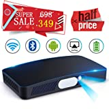 Mini Video Projector HD DLP Max200 Home Video Theater 3000 Lumens support 1080P Wireless WIFI Bluetooth Android System Game Office iPhone Multi-screen Sharing HDMI USB SD Card AV Black (Color: D2-Black)