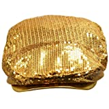 Gold Fully Sequined Ivy Beret Cap With Covered Brim