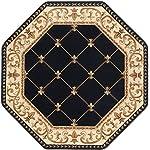 Orleans Traditional Border Black Octagon Area Rug, 8 Octagon