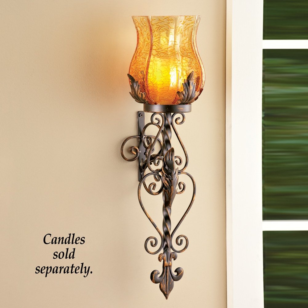 Set of 2 Bronze Elegant Scrollwork Decorative Hurricane Amber Glass Candle Holder Sconce Metal Vintage Style Decorative Home Accent Decoration 1