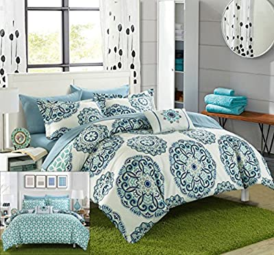 Chic Home 8 Piece Barcelona Super soft microfiber Large Printed Medallion Reversible with Geometric Printed Backing Bed in a Bag Comforter Set includes Sheets