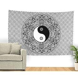 SheetKart Traditional Yin Yang Mandala Tapestry Wall Hanging - Small - Black And White