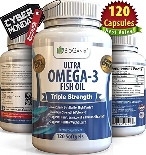 Ultra Omega-3 Fish Oil 2000mg Supplement /w 800 EPA + 600 DHA + Vitamin E (120 Softgels) Triple Strength Pharmaceutical Grade Natural Fatty Acids From Deep Blue Ocean Fish In Liquid Capsules (Ocean Kids Omega compare prices)