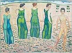 フェルディナント・ホドラー「Youth, adored by the woman (First Version). 1903 」 インテリア アート 絵画 プリント 額装作品 フレーム:木製(茶) サイズ:S (221mm X 272mm)