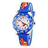 Venhoo Kids Watches 3D Cute Cartoon Digital Waterproof Silicone Children Wristwatches Time Teacher Gifts for Boys-Blue (Color: Blue Track)