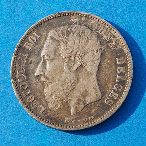 Belgium Leopold Ii Roi Des Belges 5 Francs 1863 Silver (.900) Coin