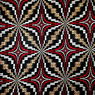 African Print Fabric Cotton Print Shuriken Red 44'' wide By The Yard Red White Black Brown