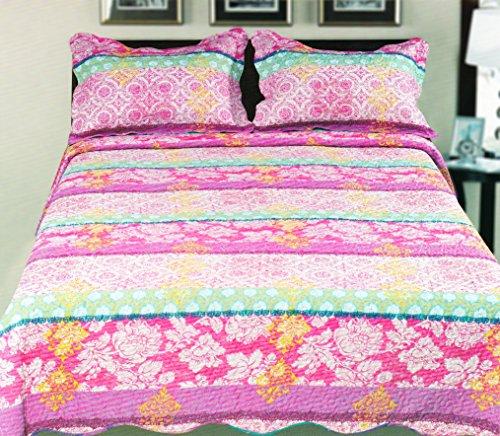 Couture Home Collection Super Fine Elegant Multi-Pattern Kids Floral Striped Design Reversible Quilt Set - 100% Cotton Fill - Queen (Purple/Pink, Queen) front-767903
