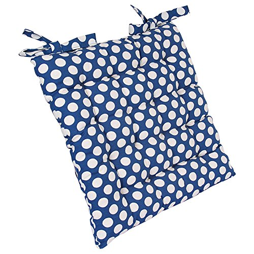 Kitchen Cushion Chair Pad Seat Stuffed with Soft Cotton Reversible Adjustable Belt with Blue Polka Dots