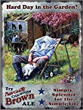 Newcastle Brown Ale Head Gardner. Hard Day in the Garden? Drink, Lazy, asleep, hot summer day. Old retro vintage for kitchen, shed, allotment, garage or pub Large Metal/Steel Wall Sign