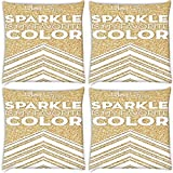 Snoogg Sparkle Is My Favorite Color Pack Of 4 Digitally Printed Cushion Cover Pillows 12 X 12 Inch