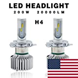 Globled 2x H4 9003 HB2 Led Headlight Bulbs for Cars 200W 20000LM Can-Bus 6000k White/3000k High Low Beam Yellow Turbo Automotive Lamps Led Driving Lights Car Bulbs(D1-H4) (Tamaño: HG-D1-H4-FBA)