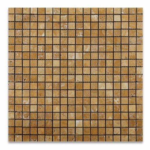 Gold / Yellow Travertine 5/8 X 5/8 Tumbled Mosaic Tile - 6