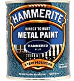 New 2014 Hammerite Hammered Direct To Rust Metal Paint Blue 750Ml