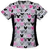 Tooniforms 6875C Women's Disney Cotton Flexibles Print Scrub Top Mickey 4X-Large