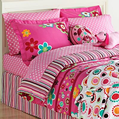 Bright Pink Girls Flowers Full Comforter & Sheet Set (8 Piece Bed In A Bag)