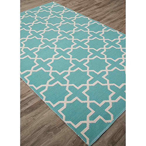 Addison and Banks Flat-Weave Moroccan Pattern Cotton Area Rug, 2' x 3', Blue/Off-White