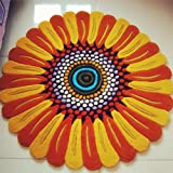 FADFAY Home Textile,Elegant Sunflower Shaped Rug,Designer European Rustic Carpets For Living Room,Round Bedroom...
