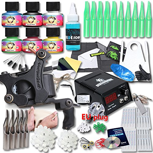 DragonHawk Upgrade Full Set Tattoo Kit Machines USA Brand Immortal Inks CE Power Supply EU Plug Needle Grips Tips UPG-1
