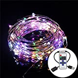 USB LED String Lights Copper Wire Lights, BEILAI 33ft 100LEDs Multi Color Starry String Flexible Rope Light for Seasonal Decorative with RF Remote Controller