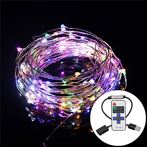 USB LED String Lights Copper Wire Lights, BEILAI 33ft 100LEDs Multi Color Starry String Flexible Rope Light for Seasonal Decorative with RF Remote Controller (Cool Bed Accessories compare prices)